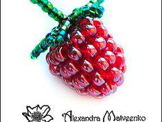 Raspberry & leaves.  good pictures (translate)  #Seed #Bead #Tutorials