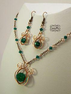 Swirly Stick Set - copper by Zsamo on DeviantArt Copper Wire Jewelry, Wire Jewelry Designs, Handmade Wire Jewelry, Wire Wrapped Jewelry, Jewelry Sets, Beaded Jewelry, Jewelry Making, Wire Necklace, Wire Earrings