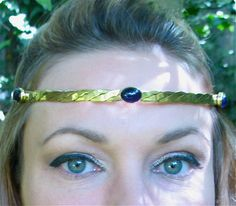 Three stones on Brass Circlet by SpiritoftheGoddess on Etsy, $69.00