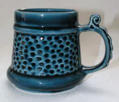 Vintage Prinknash Abbey studio pottery tankard ½-pint, deep blue glaze | eBay