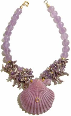 Helga Wagner Amethyst beads with Purple Coral (very rare), Diamante Rondells and Purple Pecten Shell with Amethyst Cabochon set in 14 K gold.