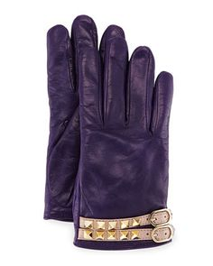 Rockstud Napa Leather Gloves by Valentino at Neiman Marcus.
