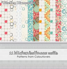 """More walls. Same patterns from Colourlovers as the """"Kitchen Dreams"""" set. Wall base from the game.  DOWNLOAD -was out of bandwidth"""