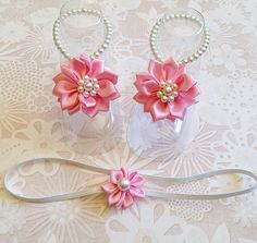 Pink baby barefoot sandal and headband set, baby girl gift, baby shower gift, photo prop  on Etsy, $23.99