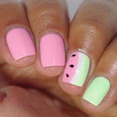 Cute Watermelon Nail Design