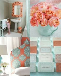 love apricot and aqua ... flowers and the mirror are just right.