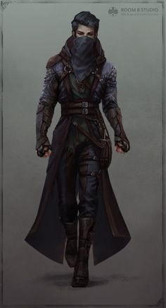 The concept of the character was created specially for room Assassin artwork. The concept of the character was created specially for room 8 Assassin artwork. The concept of the character was… - Dungeons And Dragons Characters, Dnd Characters, Fantasy Characters, Dungeons And Dragons Rogue, Steampunk Characters, Fantasy Character Design, Character Design Inspiration, Character Art, Rogue Character