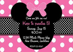 minnie mouse invitations   Pink Minnie Mouse Birthday Invitation by lovebandpdesigns