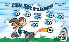 Little Strikers B51945  digitally printed vinyl soccer sports team banner. Made in the USA and shipped fast by BannersUSA.  You can easily create a similar banner using our Live Designer where you can manipulate ALL of the elements of ANY template.  You can change colors, add/change/remove text and graphics and resize the elements of your design, making it completely your own creation.