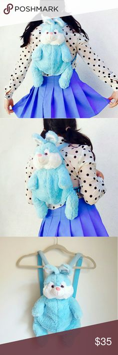 Vtg pastel blue kawaii rabbit furry backpack How could you not? Look at those eyes <333 Adorable as fuhhh vintage pastel baby blue loli rabbit backpack   You don't see precious things like this often! Not sure about the date, but this cutie seems from late 80's / early 90's.   Medium size, it has enough room for all your essentials.    No trades Cool discounts on bundles    Vintage retro 80s 90s animal backpack shaggy faux fur furry friend kawaii loli powder pale blue pastel goth grunge…