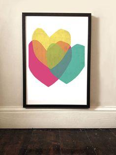Bright Hearts Minimalist Print