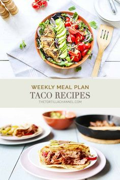 Weekly meal plan taco recipes because it is taco week on the Tortillachannel. With meat, pork, fish, chicken and vegan taco recipes Mexican Dinner Recipes, Delicious Dinner Recipes, Healthy Tortilla, Tortilla Recipes, Pork Tacos, Vegan Tacos, Meals For The Week, Meal Planning, Food To Make