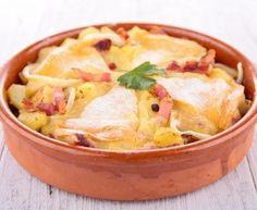 pomme de terre, lardons fumés, oignon, reblochon, huile, ail, Sel, Poivre
