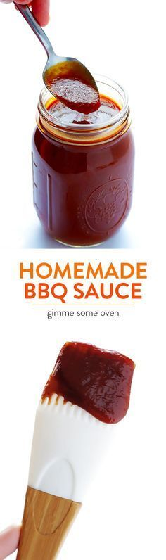 Homemade BBQ Sauce -- sweet, smoky, tangy, and super easy to make! | http://gimmesomeoven.com