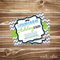 Little Man Baby Shower Invitation, Chevron Background, Customizable Colors, Printable