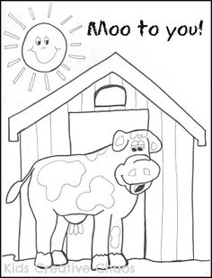 Farm Cow Coloring Sheet companion to Big Red Barn Story and silly farmer sayings.