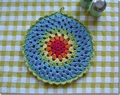 Granny Mandala Potholder with link to crochet pattern.