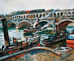 Josep Amat i Pagès. Remolcadores en el Sena, 1935. Óleo sobre lienzo, 60 x 73 cm. Colección Carmen Thyssen-Bornemisza