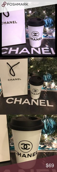 🎁LAST ONE🎁 Chanel Ceramic Mug New, Holiday Gift mug from Chanel Beauty. Comes with gift bag! Also comes with clear silicon band to protect your hands from hot drinks. Never use the boring Starbucks cup again! Be fashionable while sipping your favorite brew lol. Holds 300 ml CHANEL Makeup Brushes & Tools