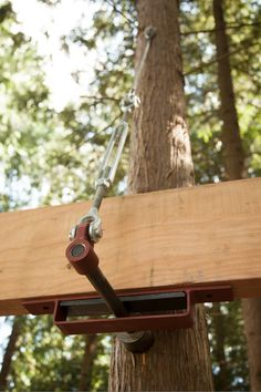 This is the attachment system I will be using. I have a lower cost version but still effective---Lucas Treehouse Attachment Bolt Suspender System – Be in a Tree