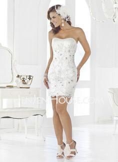 Corte recto Escote corazón Corto Satén De encaje Vestidos de novia con Bordado (002011965) - JenJenHouse.com