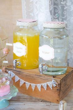 Lovely drink station at a carousel birthday party! See more party planning ideas at CatchMyParty.com!