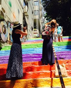 Rainbow steps in Istanbul, Turkey >>> I'd love to have a photo of myself on these stairs!