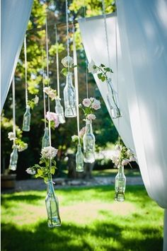 Bottles decor for outdoor wedding! I have a ton of bottles we could use