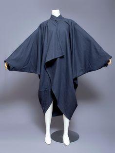 Issey Miyake Men wool cocoon coat, 1980s. Front view.