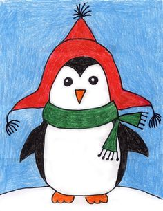 Draw a Penguin · Art Projects for Kids Winter Art Projects, Winter Crafts For Kids, Projects For Kids, Winter Ideas, Penguin Drawing, Penguin Art, Drawing Animals, Drawing For Kids, Art For Kids
