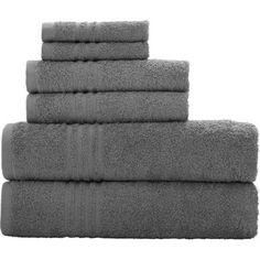 Mainstays Essential True Colors Bath Towel Collection, 6-Piece Set