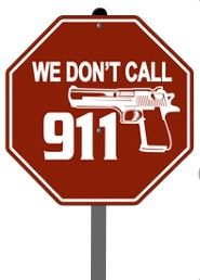 "We Don't Call 911 Yard Sign  Show anyone lurking around your house That you are not going to wait for the cops to show up to defend your property and family.  This is a 9""X9"" Octagon Sign rivetted to a 24"" metal stake with a safety cap on top. http://patriotdepot.com/we-dont-call-911-sign/"