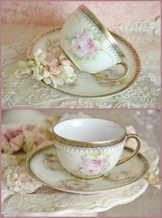 Stunning Antique Bavarian Teacup and Saucer by Jenneliserose