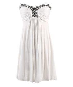 Look at this #zulilyfind! White Embellished Strapless Dress - Women by Peppermint Bay #zulilyfinds