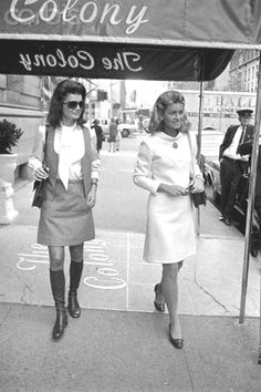 Jackie Kennedy outside The Colony Club Jacqueline Kennedy with Jean Smith walking under the awning of The Colony Club.  Date Photographed:October 01, 1968.❤✿❤     http://en.wikipedia.org/wiki/Jacqueline_Kennedy_Onassis                http://en.wikipedia.org/wiki/Jean_Kennedy_Smith