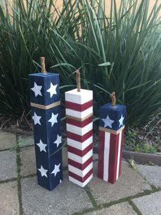 Wood Block Firecrackers, Set of 3 These adorable hand painted firecrackers are the perfect addition to your summer decor. Made from solid wood posts, your firecrackers are sturdy & ready for indoor or outdoor display. They are hand painted with stars 4th Of July Photos, Fourth Of July Decor, 4th Of July Decorations, July 4th, 4th Of July Wreath, Birthday Decorations, Memorial Day, Wooden Firecrackers, Scrap Wood Projects