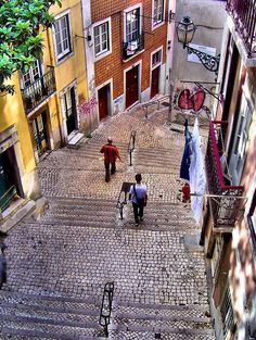 Streets of Alfama. Lisbon, Portugal  Memories of drinking and a close call with an ATM being smarter than the human...