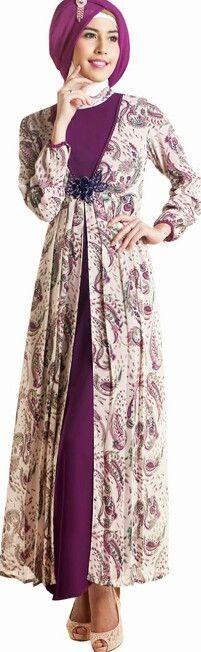 Model Gamis Cantik Batik Warna Ungu