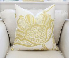 20 Schumacher Bali Vine Pillow Cover in Chartreuse by PinkandPiper, $95.00
