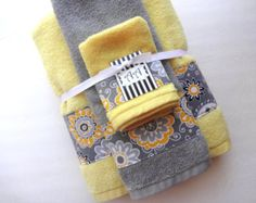 Yellow and Grey Bath Towels, yellow and grey, yellow and gray, yellow bathroom…