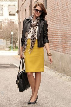 try this with brown moto jacket and yellow raisin skirt