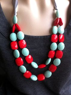 red + mint green + ribbon tie