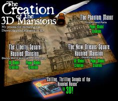 Paper models, 3D Mansions, and graphics of The Haunted Mansion, very cool crafts!