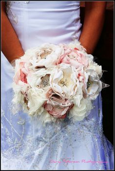 Bridal Bouquet Fabric Flower Custom Bouquet Blush Pink and Creams Brooches, Rhinestones, Pearl  Pick your Colors. $225.00, via Etsy.