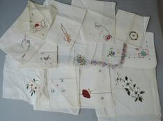 Lot of 13 Vintage Hankies with Floral by dandelionvintage on Etsy