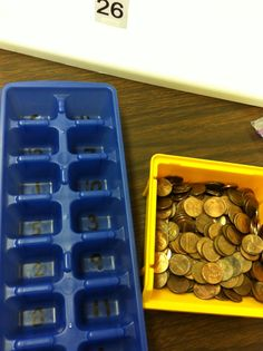 Count Pennies - put corresponding number of pennies in each section of an ice cube tray