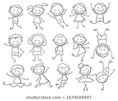 Set Cartoon Doodle People Images, Stock Photos & Vectors   Shutterstock Les Doodle, Doodle Art, Toddler Drawing, Drawing For Kids, Doodle Drawings, Easy Drawings, Stick Figure Drawing, Stick Figure Tattoo, Doodle People