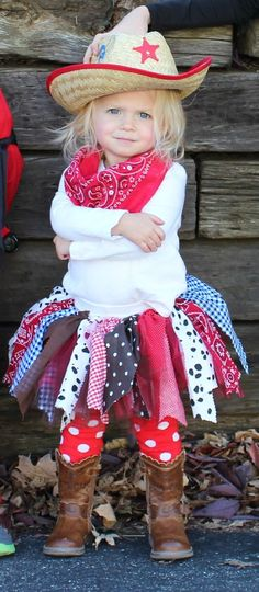 Adorable Little Cow Girl- What a very easy costume to do yourself but looks so cute.