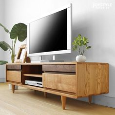 Japanese-Style solid wood tv cabinet living room coffee table minimalist modern combination of white oak furniture specials Living Room Tv, Living Room Interior, Home And Living, Tv Unit Furniture, Furniture Design, Furniture Repair, Tv Unit Decor, Muebles Living, Japanese Furniture