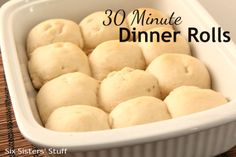 30 Minute Dinner Rolls from sixsistersstuff.com.  Make these tasty rolls in just 30 minutes from start to finish! #rolls #recipes